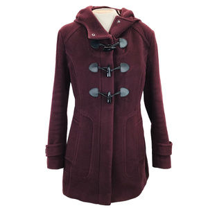 Cole Haan Dark Maroon Toggle Wool Pea Coat 12
